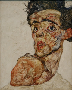 Egon Schiele, Self portrait with raised bare shoulder (1912)