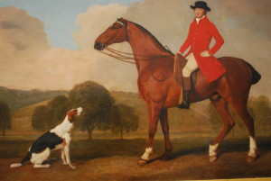 George Stubbs, 'Equestrian portrait of John Musters on his favourite hunter, Pilgrim, in the park at Colwick' (1777), detail