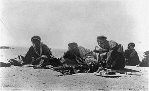 Bedouins making coffee in desert, 1906